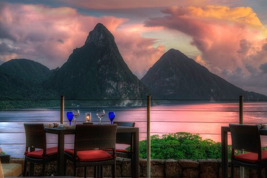 Jade mountain resort St. Lucia terrace view/ writetoaspire