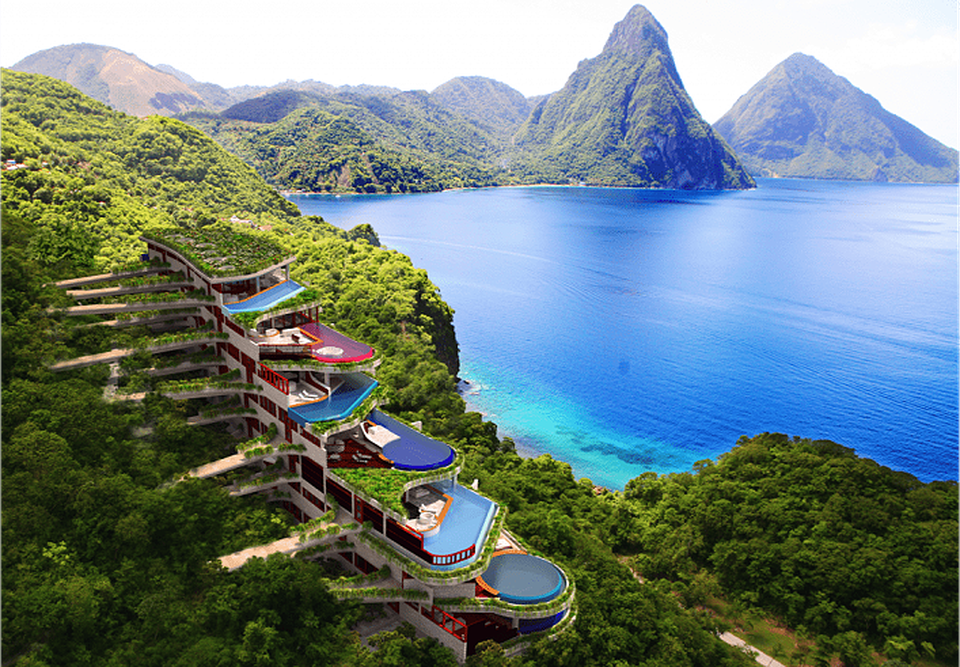 Jade mountain resort St. Lucia infdependent pools/ writetoaspire
