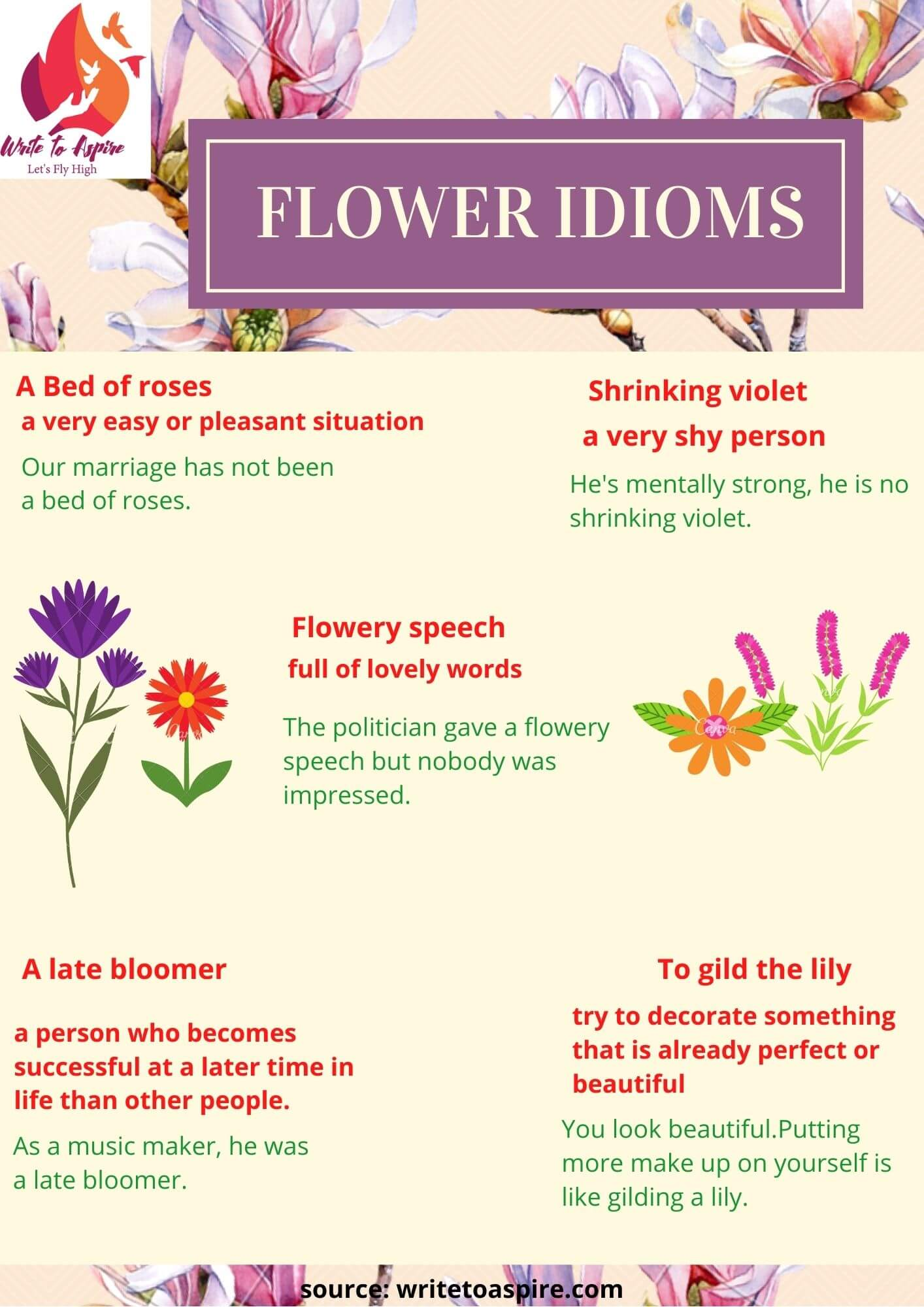 flower idioms-write to aspire