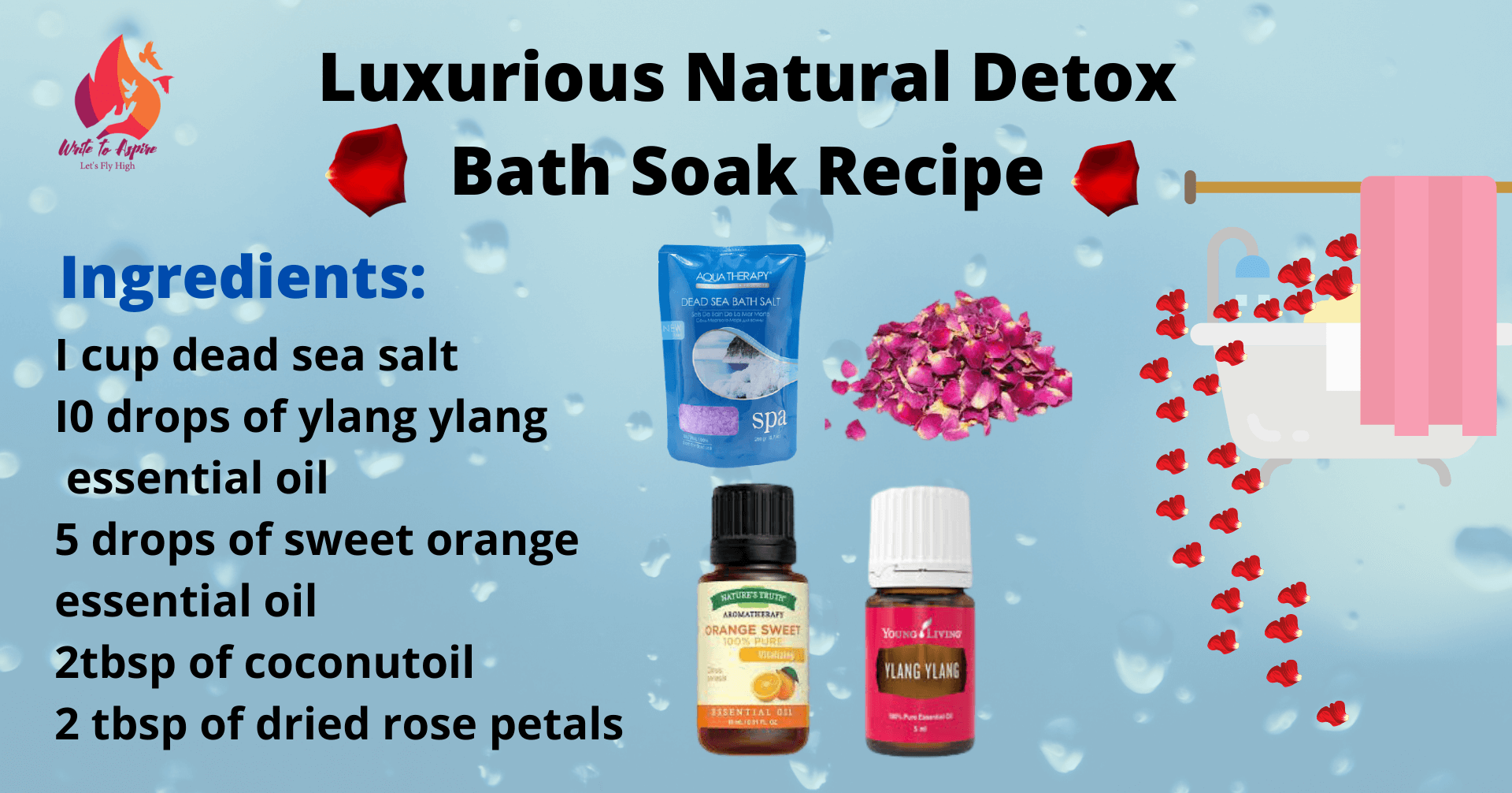 Luxurious natural detox bath recipe- write to aspire