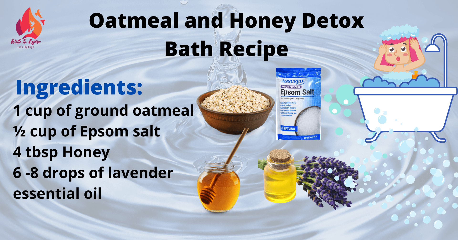 Oatmeal and honey natural bath soak recipe - write to aspire