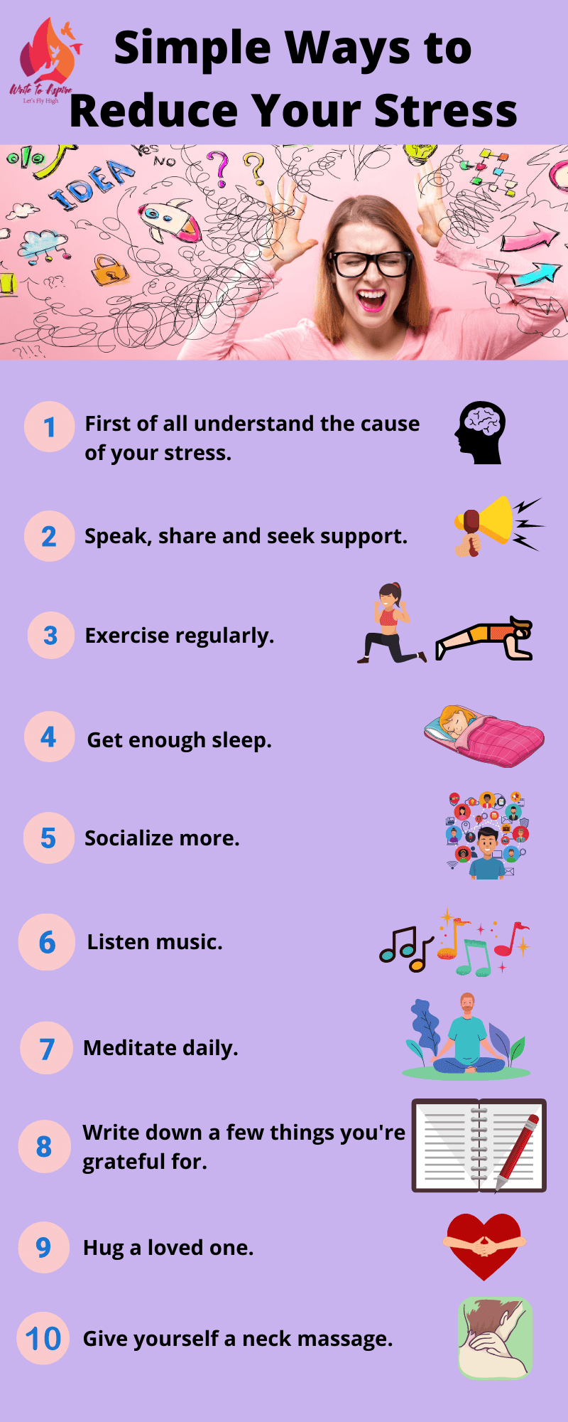 ways to reduce stress-write to aspire
