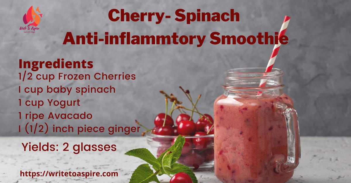 Cherry-spinach anti-inflammatory smoothie- write to aspire